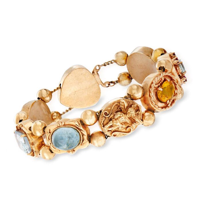 """C. 1960 Vintage Multi-Gem Bracelet in 14kt Yellow Gold. 7.5"""", , default"""