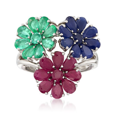 8.10 ct. t.w. Multi-Gemstone Flower Ring in Sterling Silver
