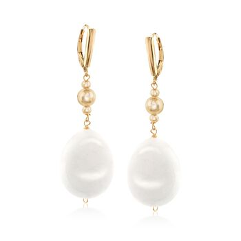 "Oval White Jade Bead Drop Earrings in 14kt Gold Over Sterling. 2 1/8"", , default"