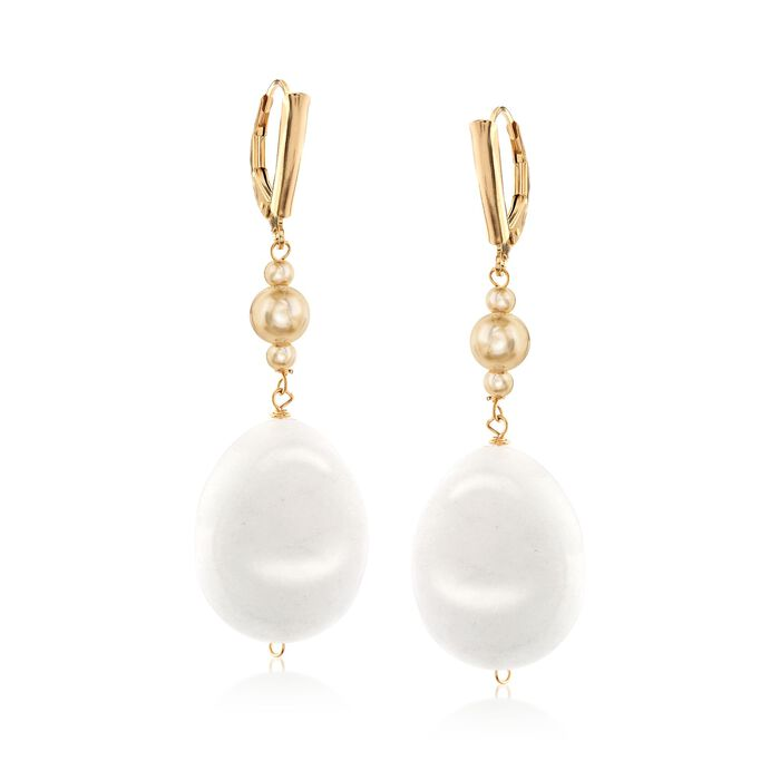 Oval White Jade Bead Drop Earrings in 18kt Gold Over Sterling, , default