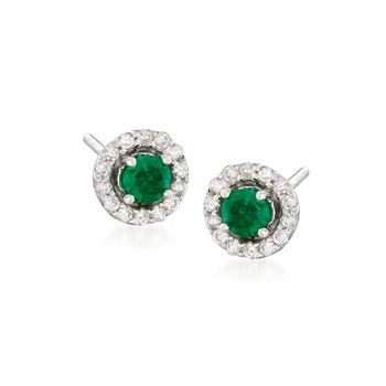 .50 ct. t.w. Emerald and .20 ct. t.w. Diamond Earrings in 14kt White Gold, , default
