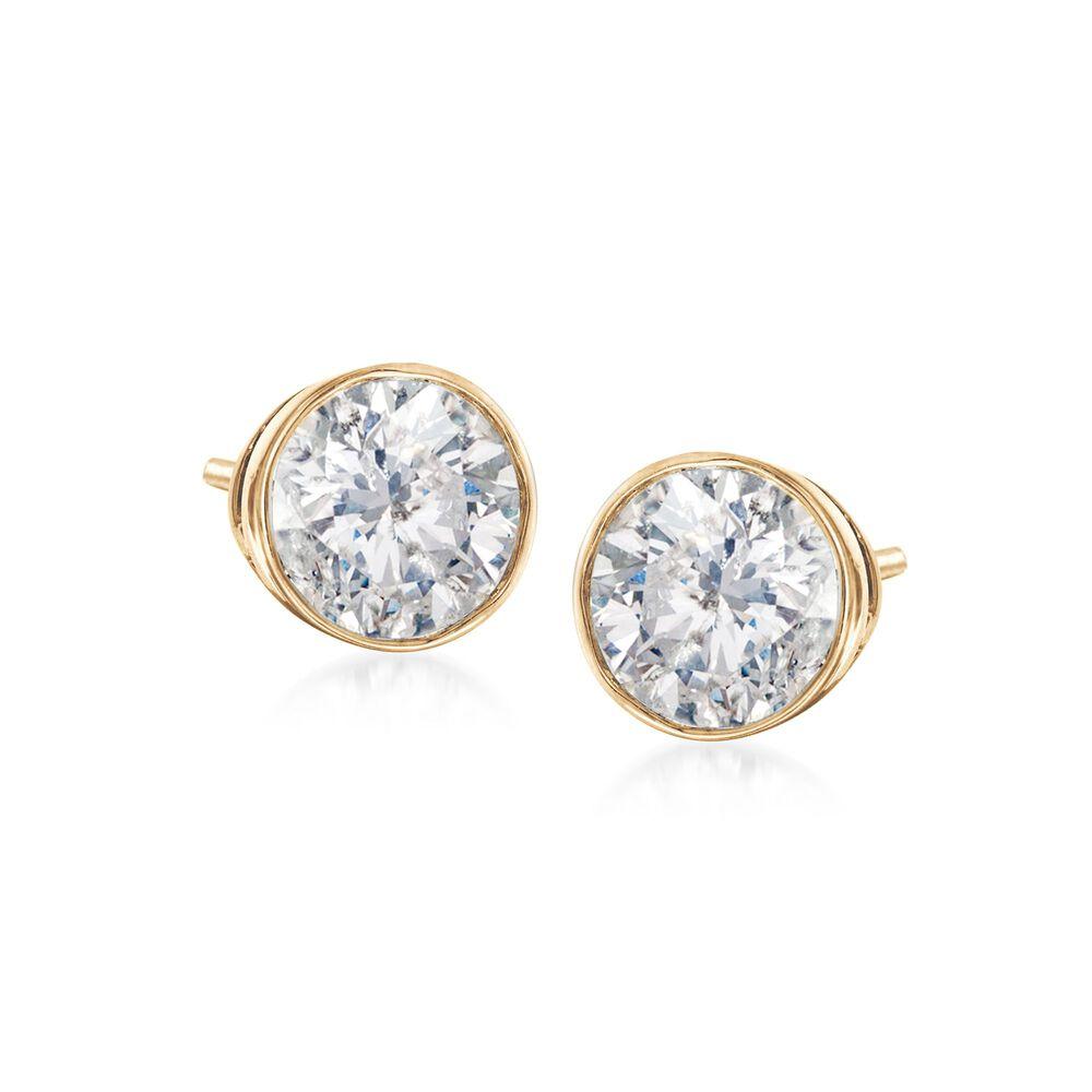 T W Bezel Set Diamond Stud Earrings In 14kt Yellow Gold