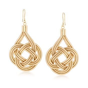 Italian Flex Knot Drop Earrings With 18kt Gold Over Sterling, , default
