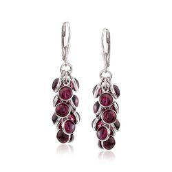 19.00 ct. t.w. Bezel-Set Rhodolite Garnet Cluster Drop Earrings in Sterling Silver, , default
