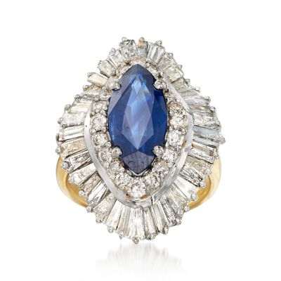 C. 1970 Vintage 2.80 Carat Sapphire and 4.50 ct. t.w. Diamond Navette Ring in 18kt Yellow Gold, , default
