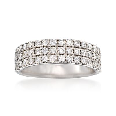 1.20 ct. t.w. Diamond Three-Row Ring in 14kt White Gold