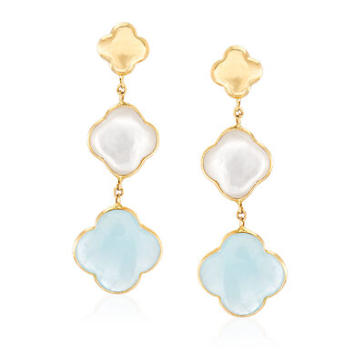 Italian Mother-Of-Pearl and 5.00 ct. t.w. Aquamarine Clover Drop Earrings in 14kt Yellow Gold, , default