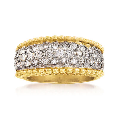 C. 1980 Vintage .85 ct. t.w. Diamond Rope-Edge Ring in 14kt Yellow Gold