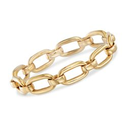 "Italian 18kt Yellow Gold Oval Link Bracelet. 7.75"", , default"
