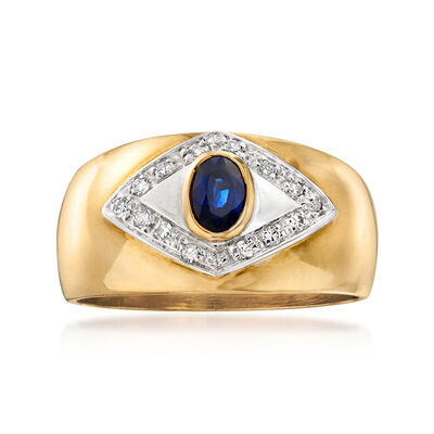 C. 1980 Vintage .35 Carat Sapphire Ring with Diamond Accents in 18kt Yellow Gold, , default