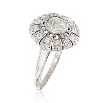 C. 1950 Vintage .90 ct. t.w. Diamond Flower Ring in 14kt White Gold. Size 7.5, , default