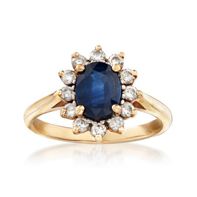 C. 1980 Vintage 1.55 Carat Sapphire and .50 ct. t.w. Diamond Ring in 14kt Yellow Gold, , default