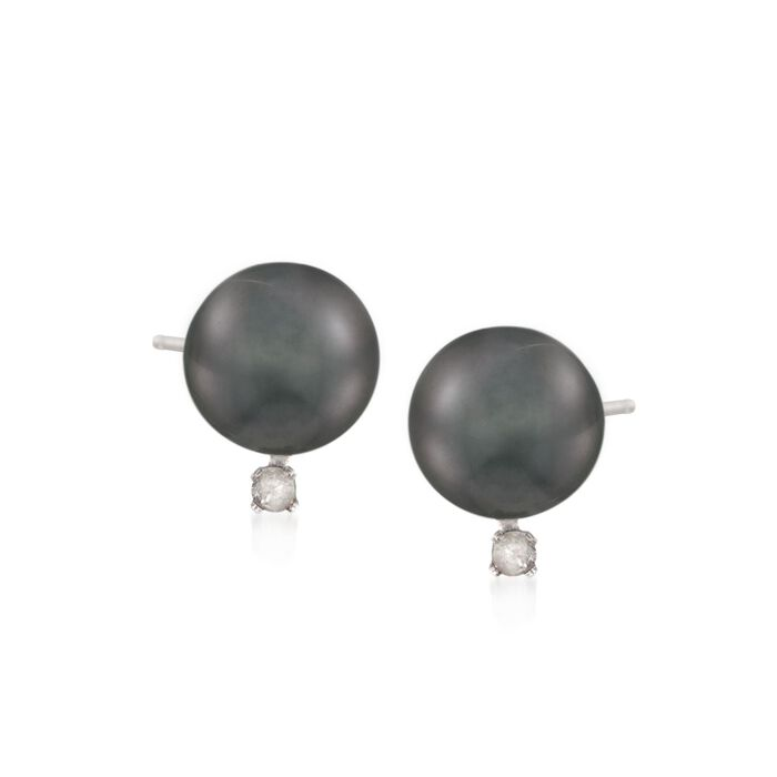 Mikimoto 9-9.5mm Black South Sea Pearl Earrings with Diamonds in 18kt White Gold, , default