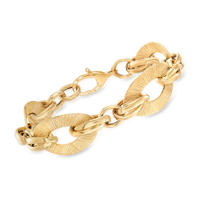 Italian Textured and Polished 18kt Yellow Gold Link Bracelet, , default