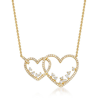 .47 ct. t.w. Diamond Double-Heart Necklace in 14kt Yellow Gold