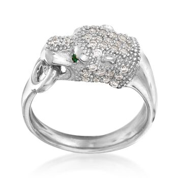 Italian .40 ct. t.w. CZ Panther Ring With Simulated Emerald Accents in Sterling Silver, , default