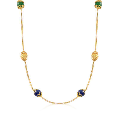 Italian Blue and Green Quartz Station Necklace in 18kt Gold Over Sterling, , default