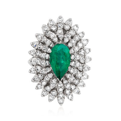C. 1960 Vintage 1.81 Carat Emerald and 1.65 ct. t.w. Diamond Ring in 14kt White Gold, , default