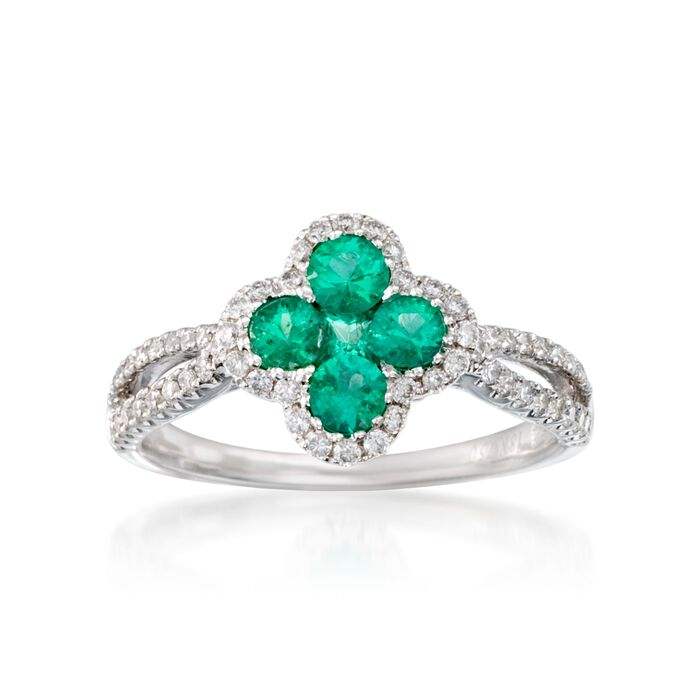 Gregg Ruth .53 ct. t.w. Emerald and .38 ct. t.w. Diamond Ring in 18kt White Gold, , default