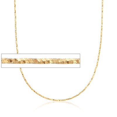 Italian 1.5mm 18kt Yellow Gold Adjustable Slider Diamond-Cut Chain Necklace, , default