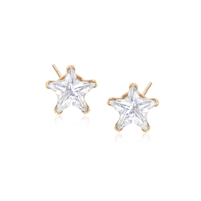 3.00 ct. t.w. CZ Star Stud Earrings in 14kt Yellow Gold, , default