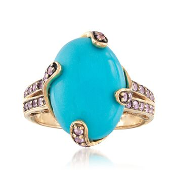 C. 2000 Vintage Turquoise and .55 ct. t.w. Morganite Ring in 14kt Yellow Gold. Size 8.5, , default