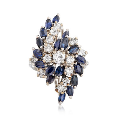 C. 1970 Vintage 2.70 Sapphire and 1.50 ct. t.w. Diamond Cluster Cocktail Ring in 14kt White Gold
