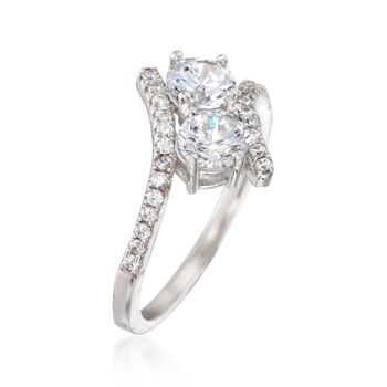 1.55 ct. t.w. CZ Two-Stone Ring in Sterling Silver, , default