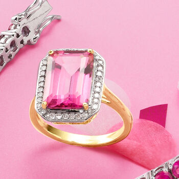 6.50 Carat Pink Topaz and .23 ct. t.w. Diamond Ring in 14kt Yellow Gold