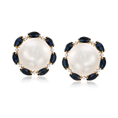 12.5-13mm Cultured Button Pearl and 2.80 ct. t.w. Sapphire Earrings With Diamond Accents in 14kt Yellow Gold, , default