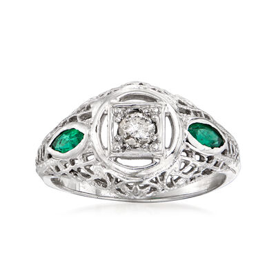 C. 1980 Vintage .15 Carat Diamond and .30 ct. t.w. Emerald Ring in 14kt White Gold, , default