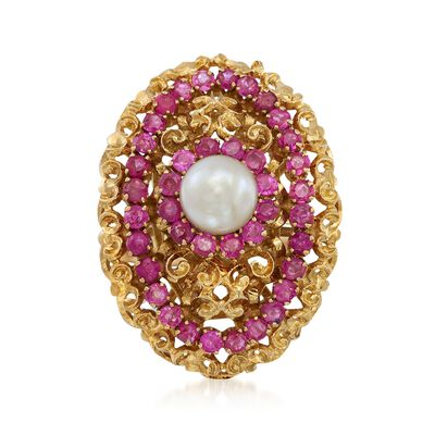 C. 1970 Vintage 7mm Cultured Pearl and 1.60 ct. t.w. Ruby Ring in 18kt Yellow Gold, , default