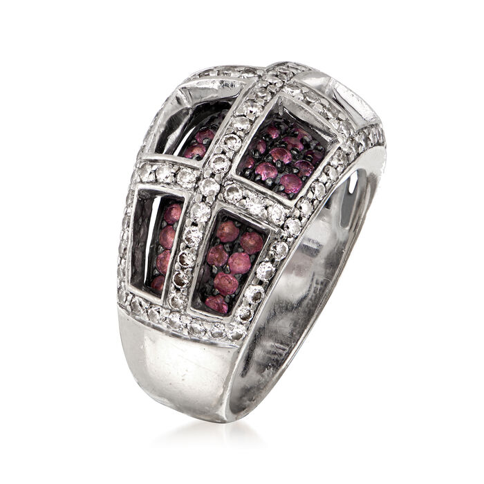 C. 1990 Vintage 1.15 ct. t.w. Diamond and 1.05 ct. t.w. Pink Sapphire Grid Ring in 14kt White Gold