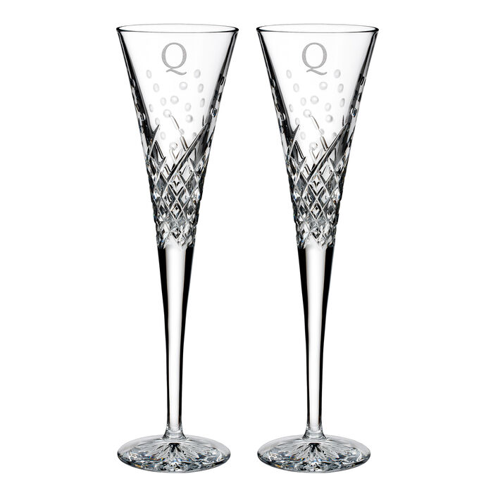 """Waterford Crystal """"Wishes Happy Celebrations"""" Set of 2 Block Initial Toasting Flutes from Italy"""
