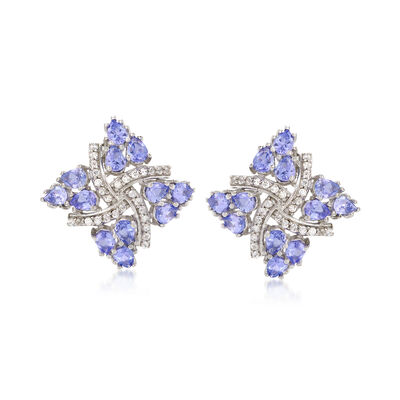 3.50 ct. t.w. Tanzanite and .20 ct. t.w. White Zircon Pinwheel Earrings in Sterling Silver, , default