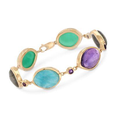 Multi-Stone Link Bracelet in 18kt Gold Over Sterling, , default