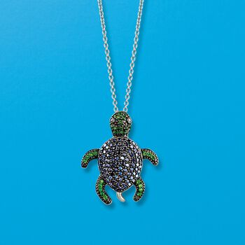 "Black Spinel and .30 ct. t.w. Chrome Diopside Turtle Pendant Necklace in Sterling Silver. 18"", , default"