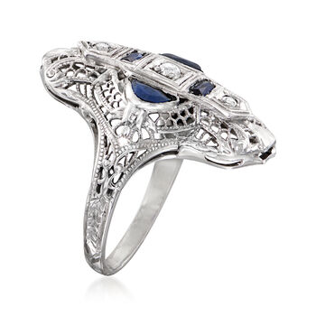 C. 1990 Vintage .30 ct. t.w. Simulated Sapphire and Diamond-Accented Dinner Ring in 18kt White Gold. Size 4.5, , default