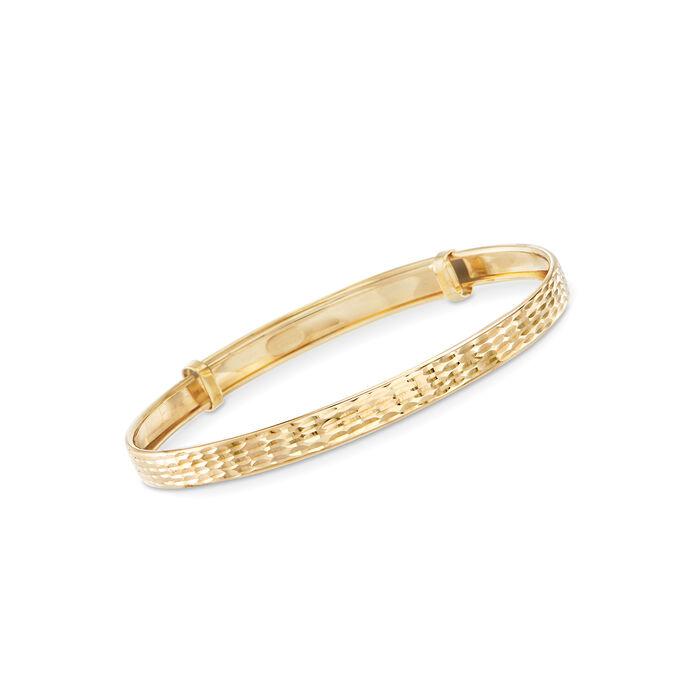 Child's 14kt Yellow Gold Adjustable Bangle Bracelet, , default