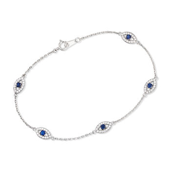 .75 ct. t.w. CZ and .40 ct. t.w. Simulated Sapphire Evil Eye Station Bracelet in Sterling Silver