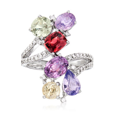 5.80 ct. t.w. Multicolored Sapphire and .44 ct. t.w. Diamond Bypass Ring in 14kt White Gold