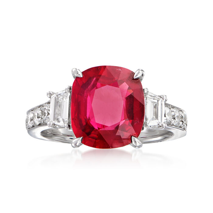 Certified 5.00 Carat Ruby and 1.00 ct. t.w. Diamond Ring in 18kt White Gold