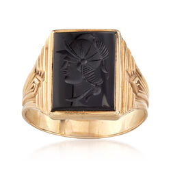 C. 1970 Vintage Men's Intaglio Onyx Ring in 10kt Yellow Gold , , default