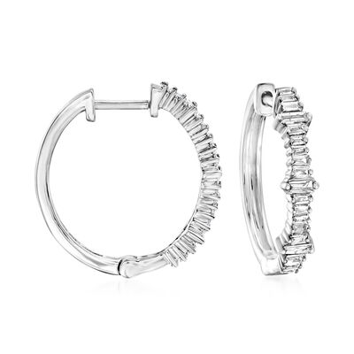 .30 ct. t.w. Diamond Baguette Hoop Earrings in 14kt White Gold