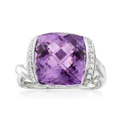 C. 2000 Vintage 5.75 Carat Amethyst and .55 ct. t.w. Diamond Ring in 18kt White Gold, , default