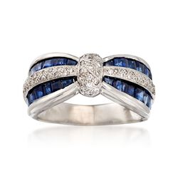 C. 1990 Vintage 1.75 ct. t.w. Sapphire and .35 ct. t.w. Diamond Bow Ring in 18kt White Gold. Size 9.5, , default