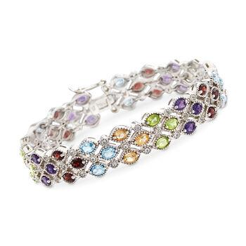 """11.30 ct. t.w. Multi-Stone Bracelet in Sterling Silver. 7"""", , default"""