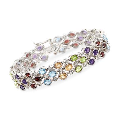 11.30 ct. t.w. Multi-Stone Bracelet in Sterling Silver, , default