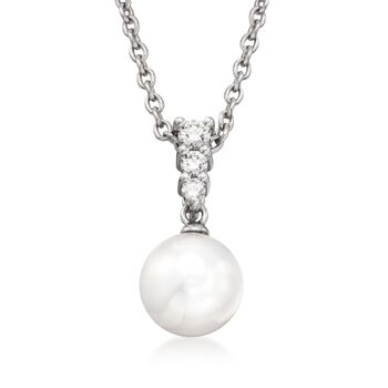 """Mikimoto 8mm Akoya Pearl Necklace With .12 ct. t.w. Diamonds in 18kt White Gold. 18"""", , default"""