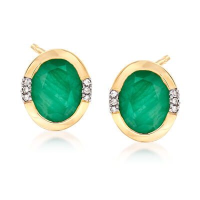 3.10 ct. t.w. Emerald Earrings with Diamond Accents in 14kt Yellow Gold, , default